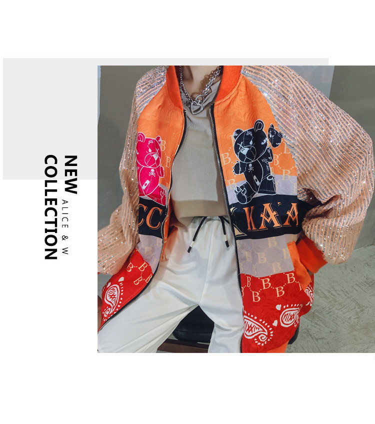H4ad3d5ddfb984be9b6b36373556f7ffcY 2021 Spring Women Long Sequins Print Patchwork Loose Coat