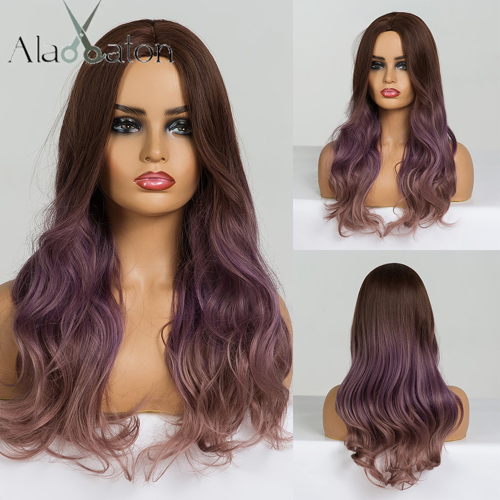 ALAN EATON Long Wavy Cosplay Wig Brown Purple Ombre Synthetic Hair Wigs Heat Resistant Fiber Middle Part Wigs for Black  WomanSynthetic None-Lace  Wigs   -