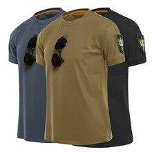 Мужские тактические футболки для спорта на открытом воздухе, военная походная футболка, специальная армейская свободная хлопковая быстрос...