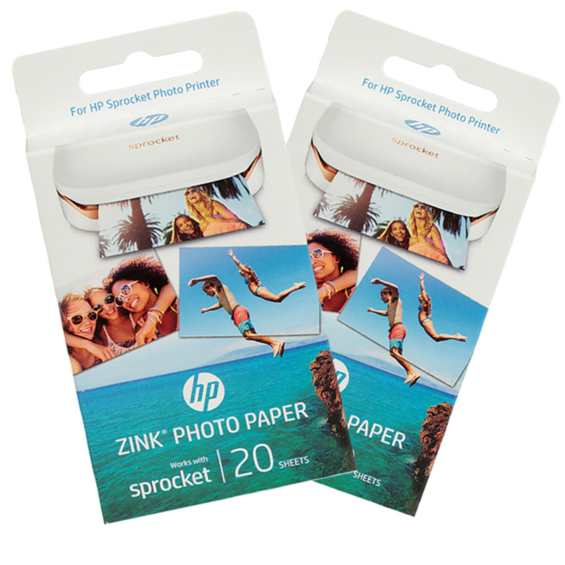 2boxes 40 Sheets Sprocket Photo Paper 5*7.6cm For HP Zink Sprocket Photo Printer Without Ink Bluetooth Printing Real-time