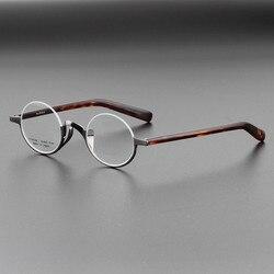 Новинка, высокое качество, чистый титан, мужские оправы для очков, полуободок, Ретро стиль, круглые оптические очки для близорукости, женски...