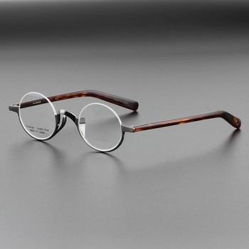 Monturas de gafas de titanio puro de alta calidad para hombres, monturas Semi-rim Retro, gafas ópticas redondas para miopía para mujeres, gafas ligeras
