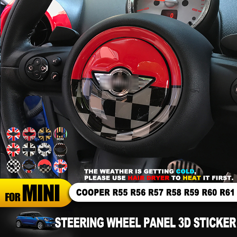 For MINI COOPER R54 R55 R56 R60 R61 Clubman Countryman Steering Wheel Center 3D Dedicated Car Sticker Decal Cover Accessories