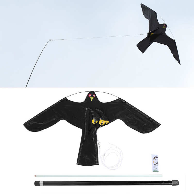 Extendable Bird Repeller Scarer Flying Hawk Kite with 5m&7m Telescopic Pole for Garden Scarecrow Yard Home-3