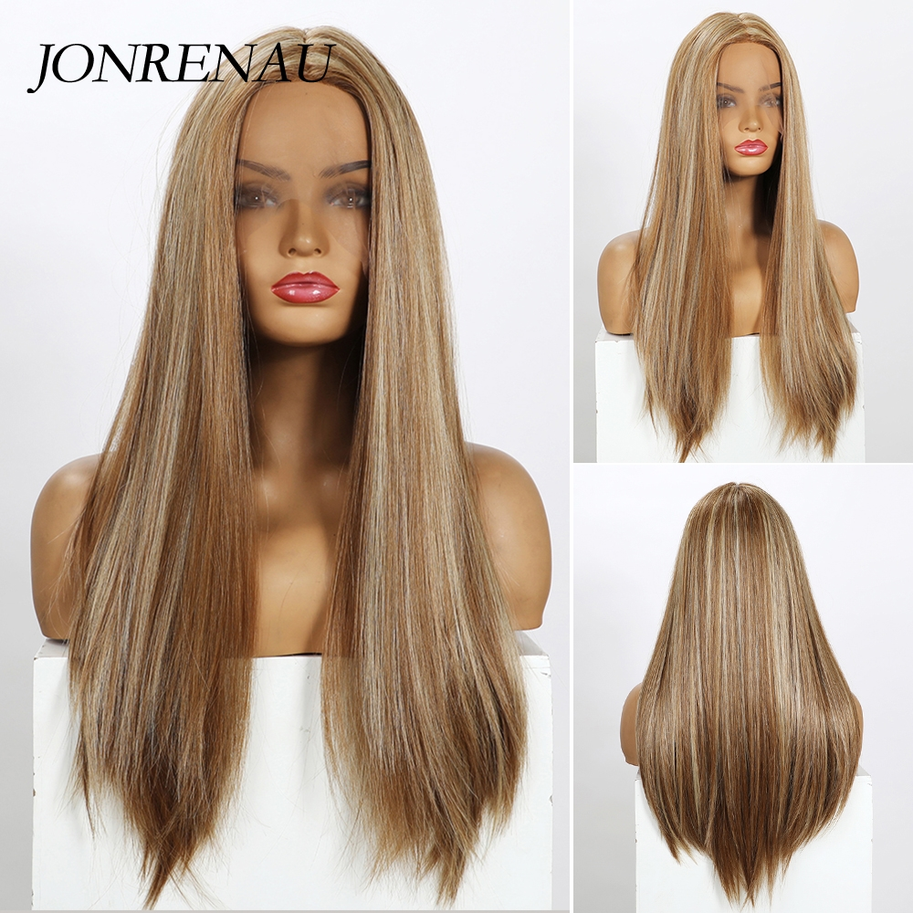 JONRENAU Dark Blonde with Highlight Long Silky Natural Wave Hair Synthetic Lace Front Wigs for Women Afro Middle Part Daily Wigs