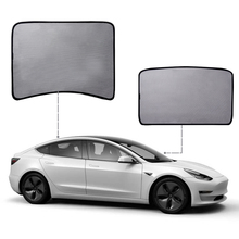 MICTUNING 2pcs Car Front & Rear Roof Sunshade Net for Tesla Model 3 Auto Window Sunshade Cover Ultraviolet-proof Mesh Sun Shade