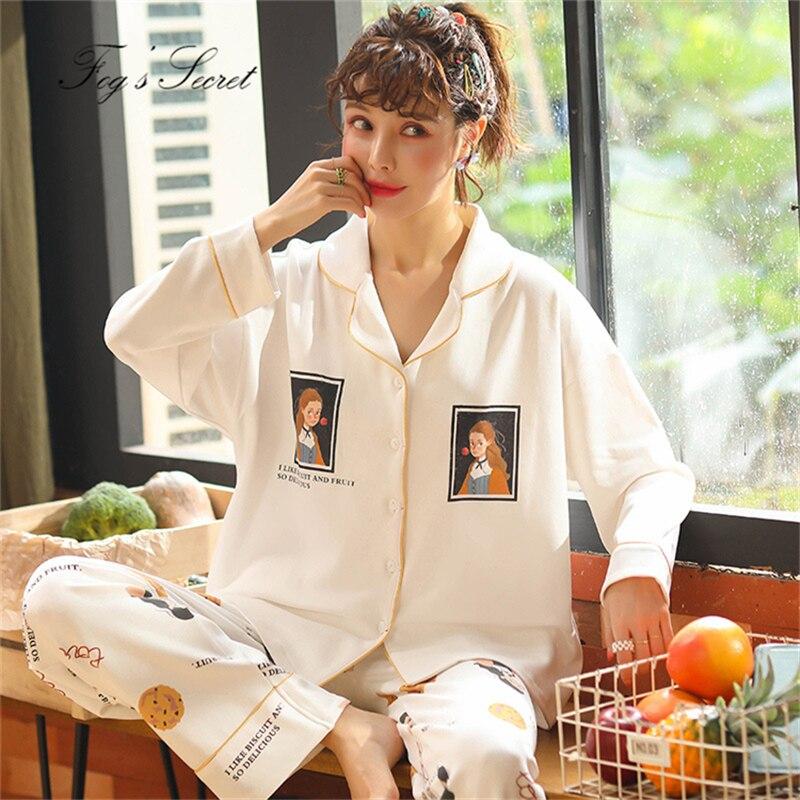 Women Pajamas Sets Loose Casual Cotton  Home Wear Lapel Cardigan With Long Trousers Sleepwear Pijama Feminino