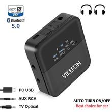Receptor y transmisor de Audio inalámbrico con Bluetooth 5,0, dispositivo de baja latencia aptX LL HD para TV y coche, con apagado automático, Conector de 3,5mm y adaptador óptico RCA