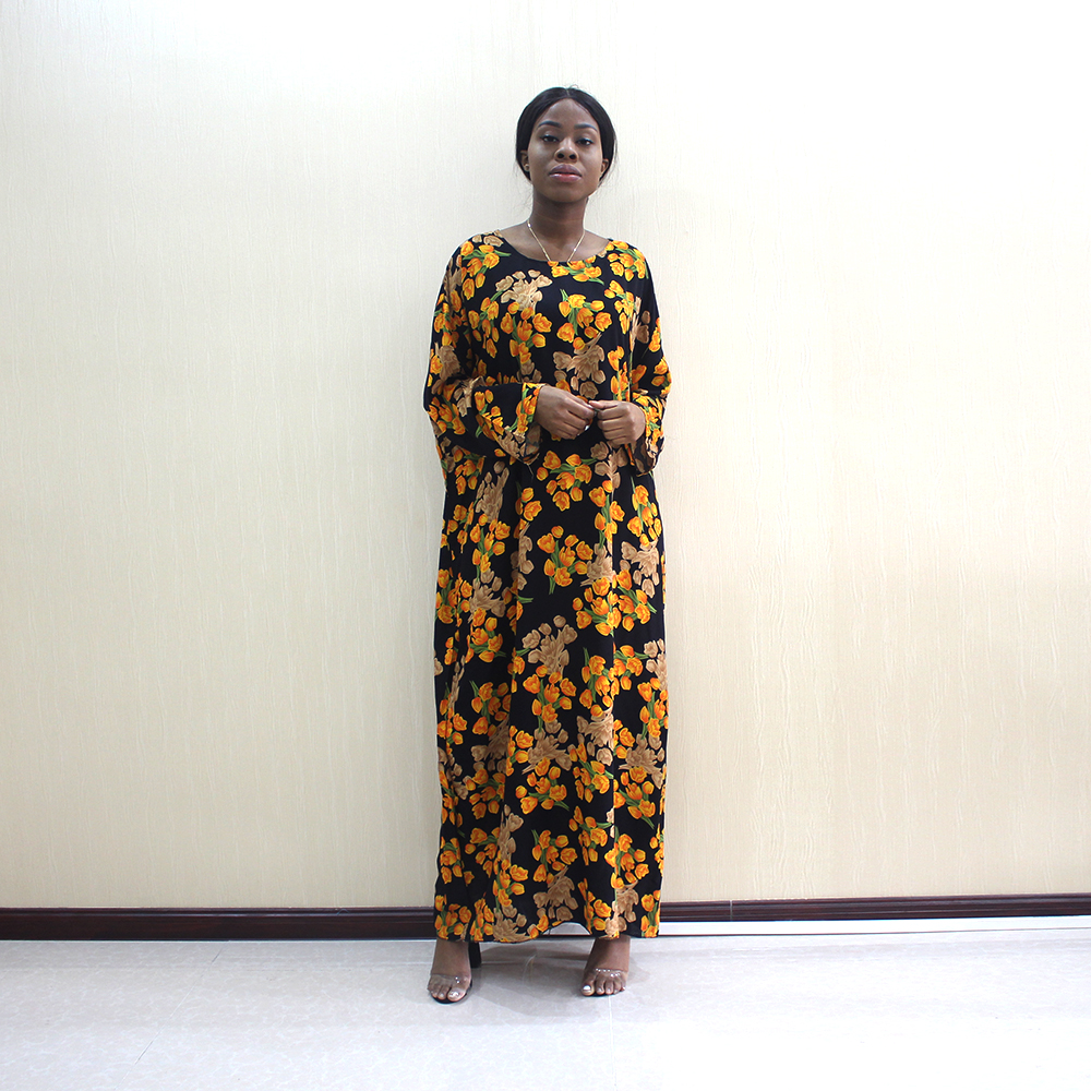 African Dashiki Women Dresses 100% Cotton Gold tulip Print Elegant Long Sleeve Long Dress With 180*120 cm Scarf