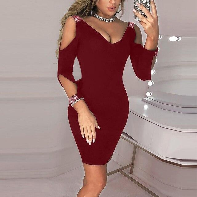 2021 Women Solid V-neck New Summer Sexy Black Club Dress Mini Sequins Dresses Elegant for Female Robe  Vestidos party dress 3