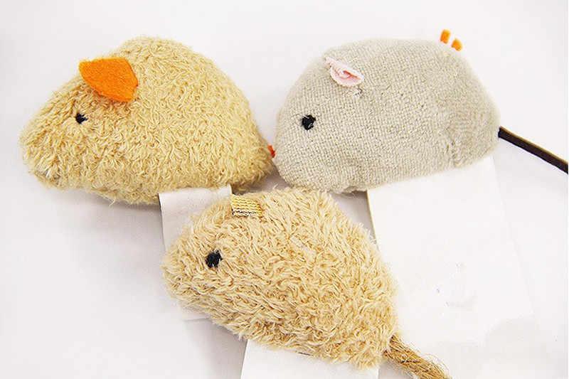 3 개/갑/팩 재미 있은 고양이 물린 방지 장난감 플러시 높은 시뮬레이션 된 작은 마우스 Mouselet 숨기기 게임 찾기 애완 동물 새끼 고양이 훈련 공급