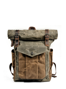 Image 5 - MUCHUAN Luxury Vintage Canvas Backpacks for Men Oil Wax Canvas Leather Travel Backpack Large Waterproof Daypacks Retro Bagpack