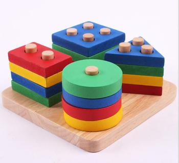Free shipping kids wooden educational toy geometry intelligence board children's early education montessori teaching AIDS Blocks free shipping montessori teaching aids children wooden rainbow tower balance toys children clown balance blocks