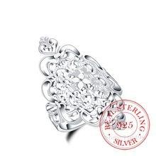 100% 925 en Argent Sterling anneaux pour femmes hommes femme motif creux Vintage cristal infini Bague Argent 925 Anillos Mujer