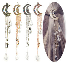 4 Colors Luxury Women Girls Moon Crescent Hair Pins Popular Natural Crystal Stone Precious Female Tassel Styling Clips