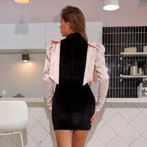 Image 3 - Jillperi女性の冬の長袖蝶ネクタイベルベットパーティードレスファッションパフスリーブパッチワークストレッチセクシーなショート衣装ミニドレス