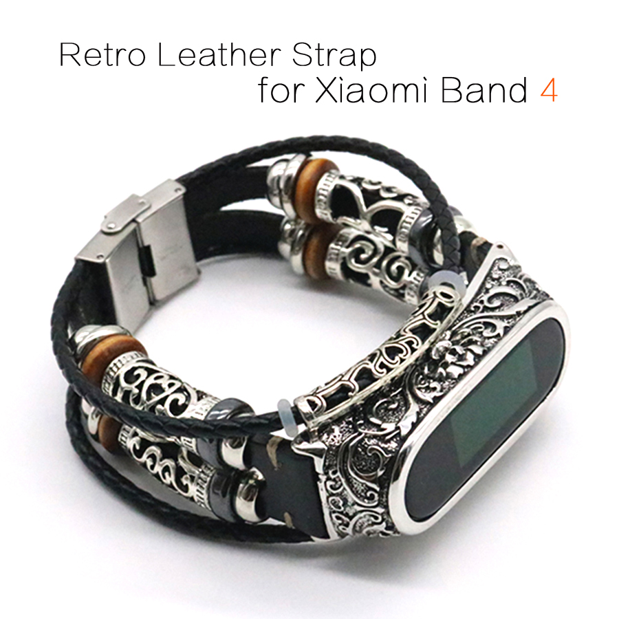 For Mi Band 4 Strap Retro Genuine Leather Watch Band Bracelet For Xiaomi Mi Band 4 Wristband Accessories For Mi Band 4 Pulseira
