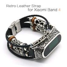 Para mi banda 4 cinta retro pulseira de relógio de couro genuíno para xiaomi mi banda 5 acessórios para mi banda 4 pulseira
