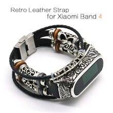 Voor Mi Band 4 Band Retro Echt Lederen Horloge Band Armband Voor Xiaomi Mi Band 5 Polsbandje Accessoires Voor Mi band 4 Pulseira