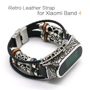 Image 1 - Voor Mi Band 4 Band Retro Echt Lederen Horloge Band Armband Voor Xiaomi Mi Band 5 Polsbandje Accessoires Voor Mi band 4 Pulseira