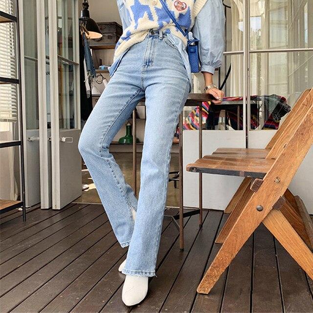 2019 Autumn Fashion Women High Waist Denim Jeans Straight Jeans Side Split Jeans Vintage Female Long Capri Pants 2