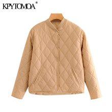 KPYTOMOA Women 2020 Fashion Argyle Loose Padded Jacket Coat Vintage Long Sleeve Side Pockets Female Outerwear Chic Tops