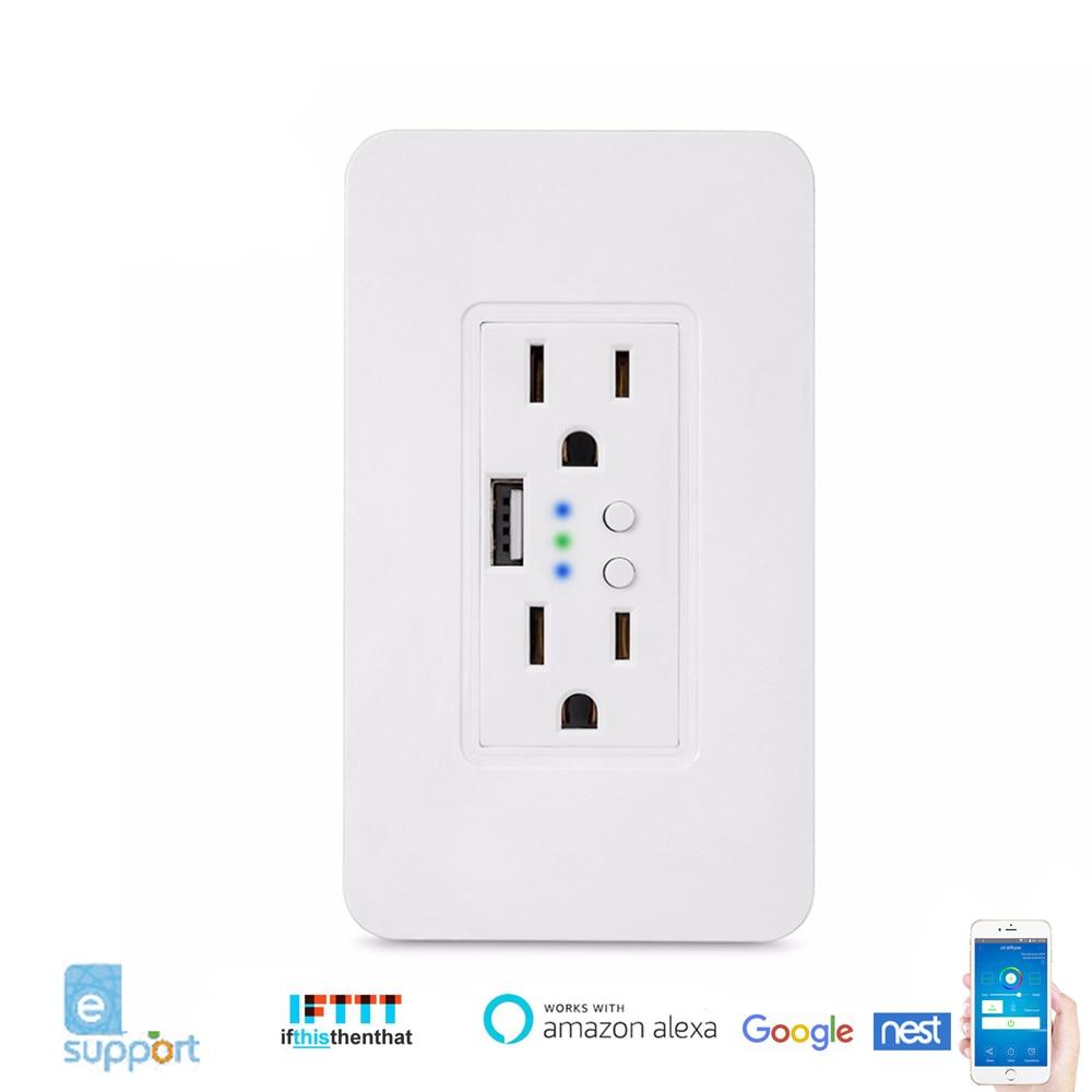 US Smart WiFi prise prise Duplex prise murale 2 prises de contrôle indépendantes 5 V/2.4A Port USB APP télécommande IFTTT