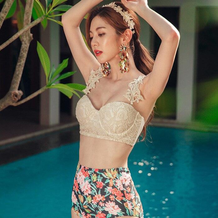 Swimsuits Bikini Swimwear For Women Swim Wear Tankini Swimsuit Korea Buying Retro Sexy Print High Waist Woman Polyester 1