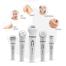 Kemei 5in1 electric face cleaning brush hair removal depilation machine depilatory women shaver Multifunction Female Epilator  3 цена и фото