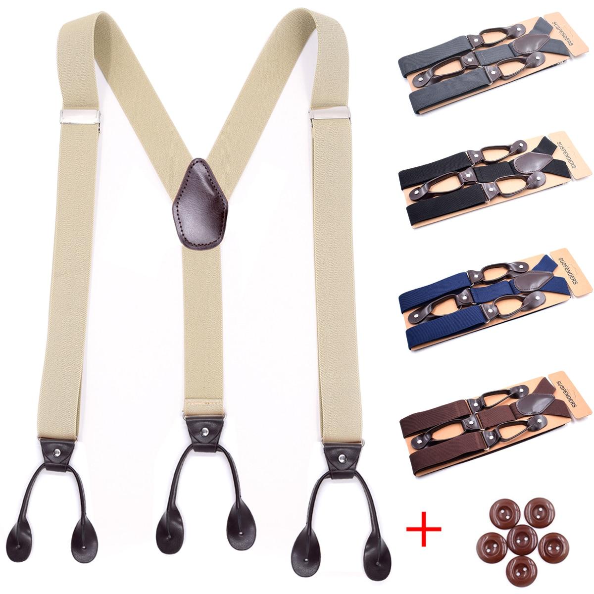 Black Blue Brown Suspenders For Men PU Leather Trimmed Button End Adjustable Elastic Tuxedo Suspenders Men's Fashion Accessories