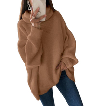 CALOFE 2019 Women Oversized Thicken Basic Knitted Sweater Female Solid Turtlenec