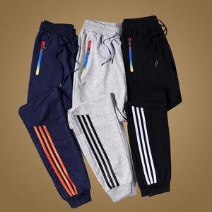Мужские штаны для бега, Брендовые повседневные мужские брюки в полоску, черные, синие, серые хлопковые спортивные штаны, Мужские штаны для ф...