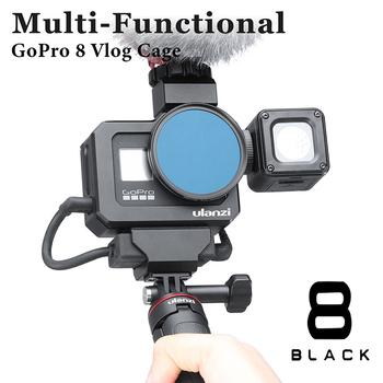 ULANZI G8-5 metalowa klatka operatorska dla Gopro Hero 8 czarna klatka Vlog podwójne zimne buty do mikrofonu LED akcesoria do kamer w ruchu tanie i dobre opinie