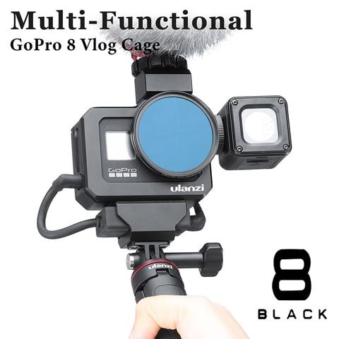 Gaiola de Câmera de Metal para Gopro Fria para Microfone Acessórios da Câmera Ulanzi Hero Preto Vlog Gaiola Dupla Sapata Luz Led Ação G8-5 8
