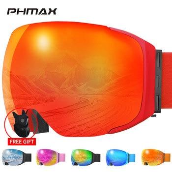 PHMAX Magnetic Ski Goggles Winter Men Snowboard Goggles Glasses UV400 Protective Anti-Fog Snow Ski Mask Glasses For Snowmobile