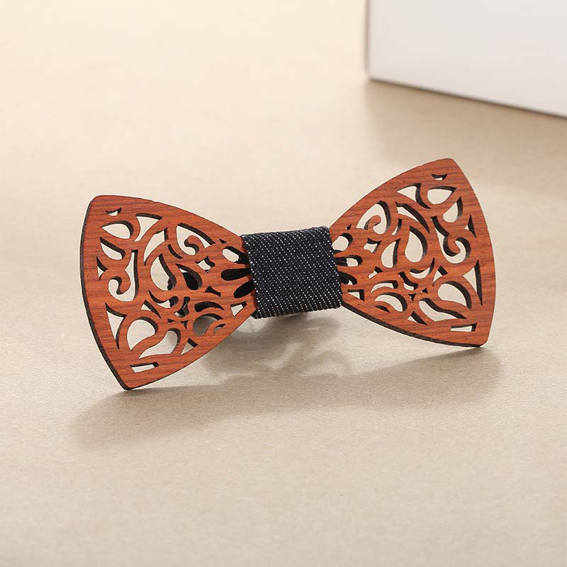 Solid Multi Wood Bow Tie in Striped Pattern