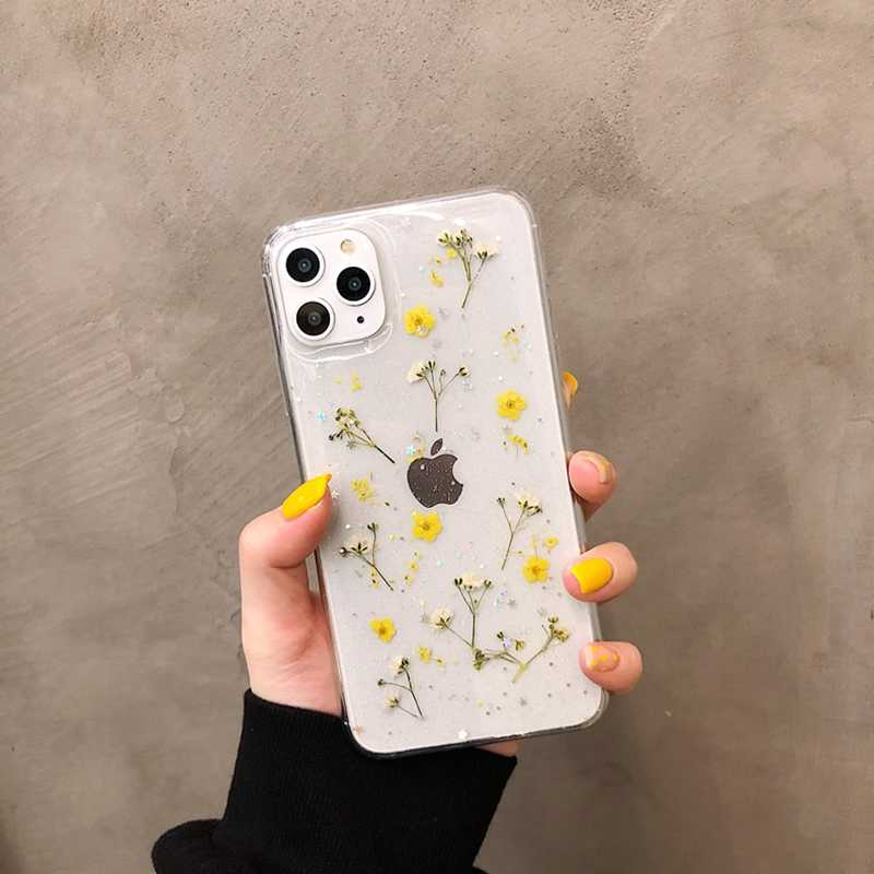 Samsung galaxy s20 s21 real dried pressed flower leaf phone case,Iphone 6 7 8 plus x xr xs 11 12 pro max mini case floral gifts