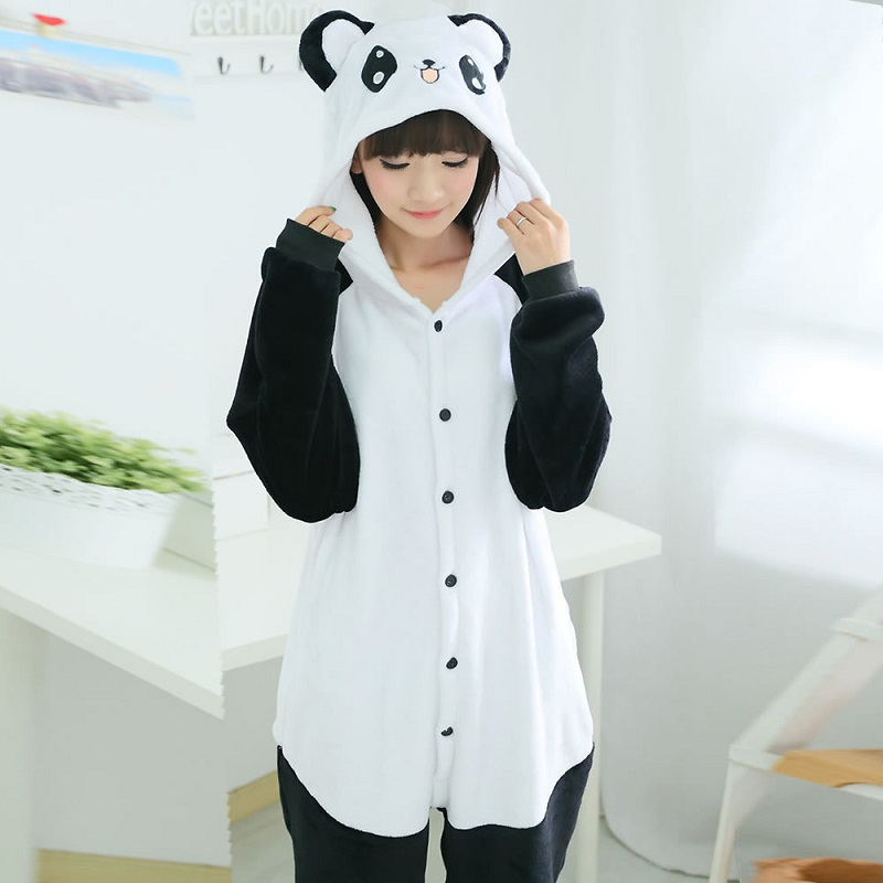 Kigurumi Panda Long Sleeve Hooded Onesies For Adults Flannel Warm Panda Pajama Whole Onepiece Animal Pajamas Kegurumi Onsie