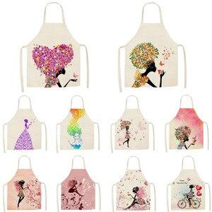 1 шт., цветочный принт с бабочкой для девочек, Кухонные фартуки для женщин, домашняя одежда для приготовления пищи, нагрудник из хлопка и льна...