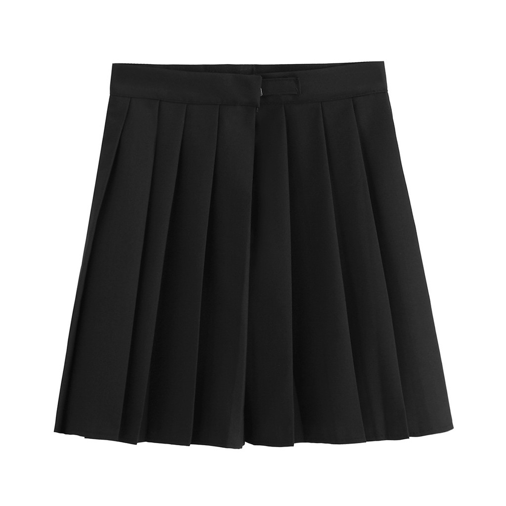 Black Color Women Mini Skirts jupe femme Fashion School Uniform Pure Color Pleated Skirt falda Academic Style Skirt spodnica #C9