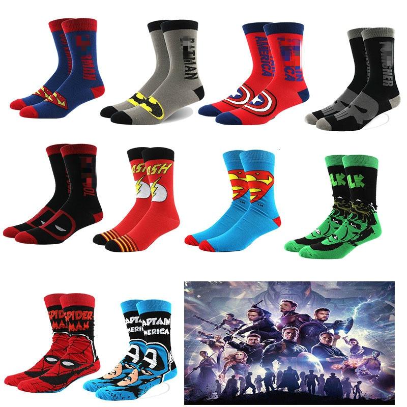 Marvel Green Lantern Socks Avengers Black Panther Captain America Funny Novelty Comfortable Men Cotton Sock Calcetines De Hombre