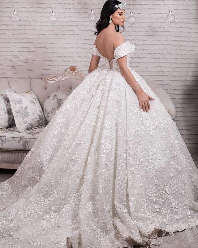 Handmade Floral Wedding Dress Sexy Low Off Shoulder Lace Ball Gown Wedding Dresses Glamorous Saudi Princess Vestido De Novia