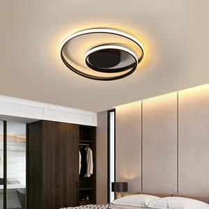 Image 5 - 現代の天井照明ledランプリビングルーム白黒色表面実装天井ランプデコAC85 265V