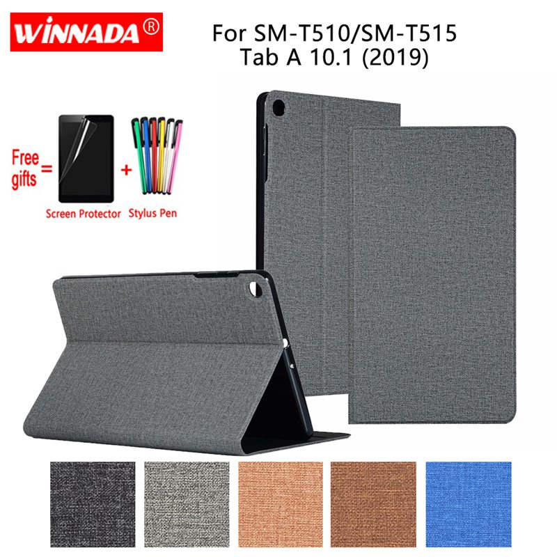 For Samsung T510 T515 case linen grain PU leather Stand Protective Case TPU Cover for Samsung Galaxy Tab A 10 1 2019 Coque in Tablets e Books Case from Computer Office