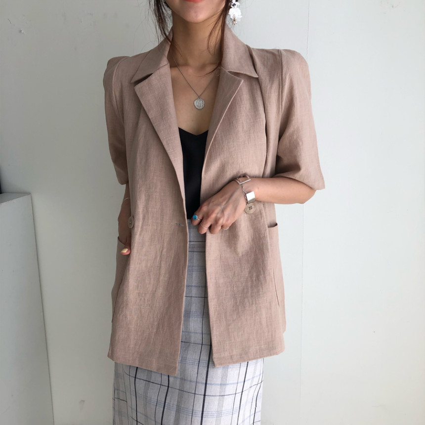 HziriP Women Office Wear Suit Blazer 2020 Solid Casual Double Breasted Coat Jacket Short Sleeve Notched Collar Pockets Blazers