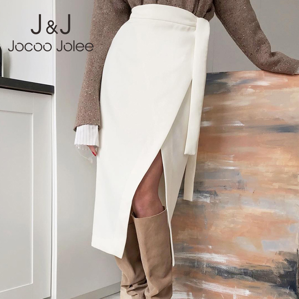 Jocoo Jolee Women Suede Split Long Skirt High Waist Belt Midi Wrap Skirt Vintage Harajuku Thick Warm Skirts Office Lady Bottom