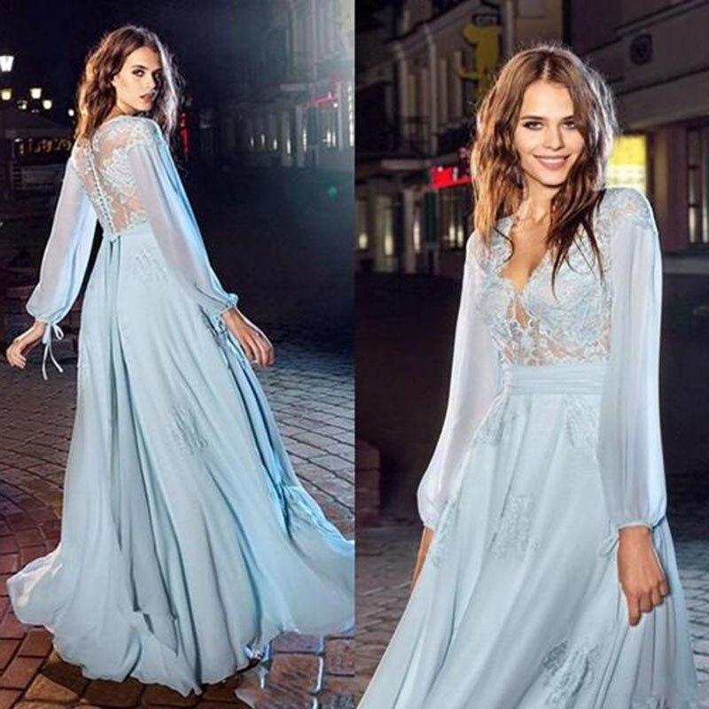 SoDigne muslim Prom Dresses Sexy A Line V Neck Lace Applique  Long Sleeve Dubai Evening Dress Celebrity Dress