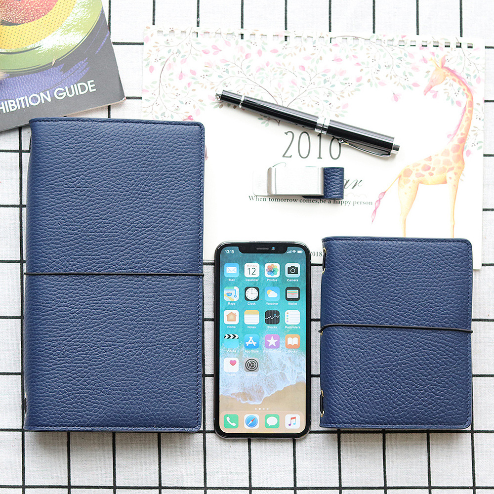 novo litchi grao de couro viajante notebook genunie couro diario receber presentes capa dura fucntion