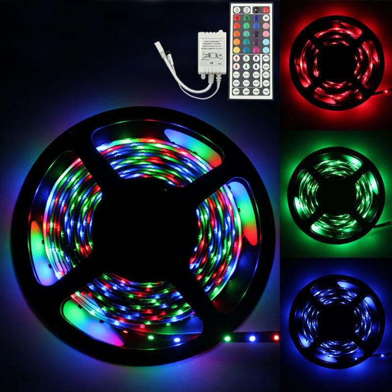 5M RGB Led SMD Flexible Light Strip Lamp+44 key IR Remote Controller Ribbon Purple Flexible Tape lamp for DJ Fluorescence