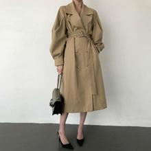 Elegant Windbreaker Women Slim With Belt Fashion Khaki Outerwear New Spring Autumn Double breasted Turn Down Collar Trench Coat